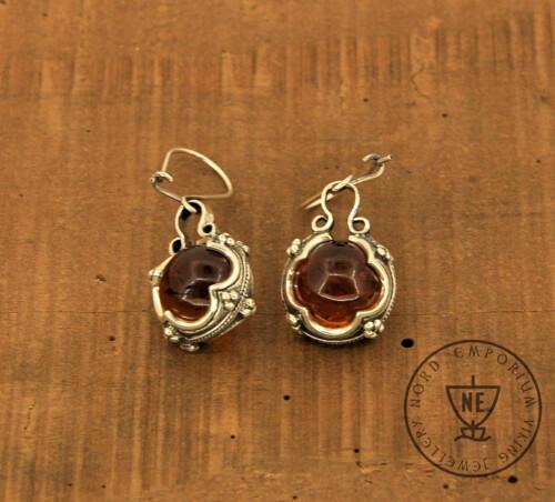 Golden Brown Amber Earrings
